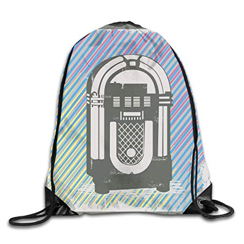 HLKPE Drawstring Backpacks Bags Daypacks,Radio Party Dark Grey Vintage Music Box with Abstract Grunge Colorful Stripes Image,5 Liter Capacity Adjustable for Sport Gym Traveling Lime Green Music Box