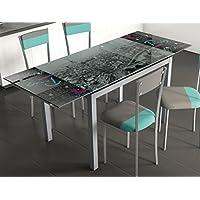 Mesa para cocina extensible de cristal con serigrafía de Paris 110-170x70cm