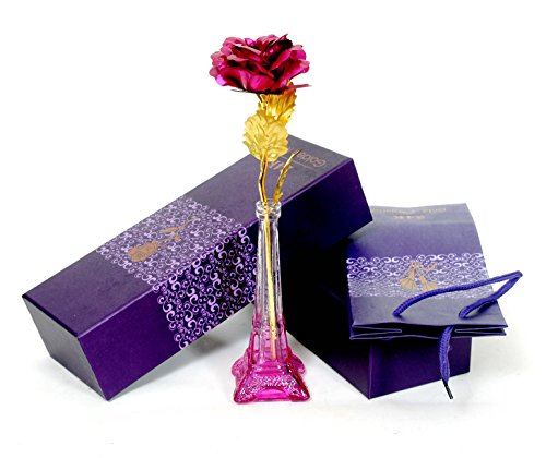 Skylofts Pink Gold Rose, Gift Box and Carry Bag - Best Valentine Day Gift, Birthdays. Gold Dipped Rose (with Eifel Tower Stand)