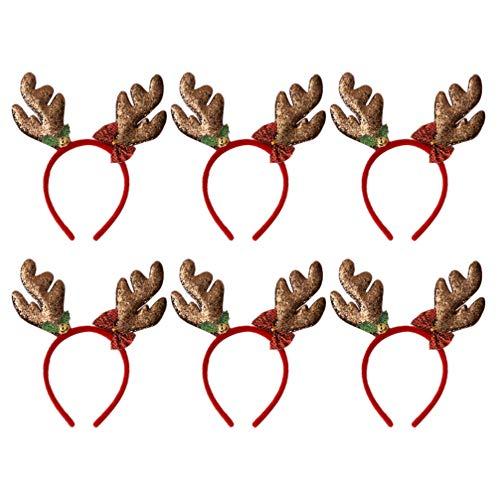 Amosfun 6 Stücke Weihnachten Haarreif Rentier Geweih Elch Ohren Haarschmuck Haarband Stirnband Kopfschmuck Kopfbedeckung Kinder Erwachsene Party Hirsch Kostüm Zubehör Deko (Hirsch Kostüm Für Erwachsene)