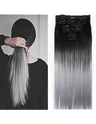 Neverland Beauty 60cm 7 Pcs Clip in Extension de Cheveux A Clipser Tete Entiere Perruques Wig Naturel Noir a Argent Gris