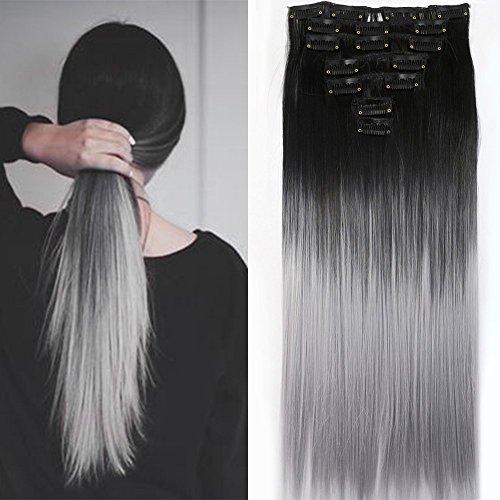 Neverland Beauty 7 Tressen Haarverlangerung Glatt Clip In Ombre Extensions Haarverdichtung Licht Auburn Naturliche Schwarz Silbergrau ...