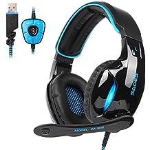 2017 SADES Neue Version SA902 USB 7.1 Kanal Virtuelles Surround Stereo Gaming Headset, PC Over-Ear-Kopfhörer Gaming mit Mikrofon Rauschen Abbrechen Lautstärkeregler und Blau LED Licht(Schwarz/Blau)