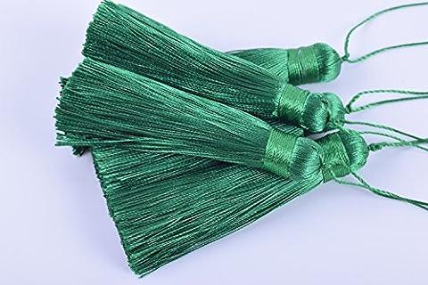 Konmay 10pcs 8,1cm (8.0cm) Soft Long soyeux faite à la main Tassel suspendre avec cordes pour projet de bricolage vert kelly