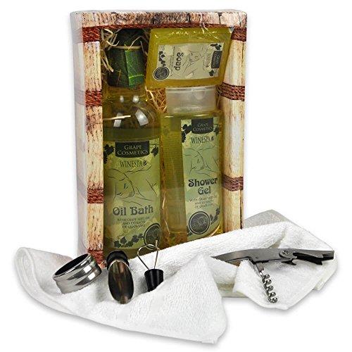 Handverpacktes Geschenk-Set Weinprobe mit Duschgel sowie Pflegebad und Seife plus Weinzubehör