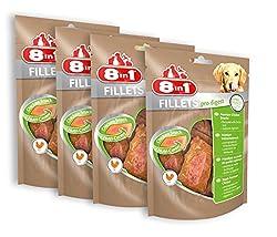 8in1 Fillets Pro Digest Hähnchensnack, Größe S, funktionale Leckerlies für Hunde, 4er Pack (4 x 80 g)