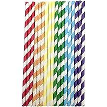 rehytsg color ecológica pajita, 150 piezas, paja de papel dégradable, tubo de aspiración