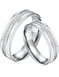 Yellow Chimes Dazzling Stardust Silver Steel Couple Rings for Girls and Boys