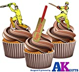 12 X Cricket Batte de Cricket Happy Birthday Lecteur de carte en Papier comestible prédécoupé pour décorations de gâteau avec support de fixation