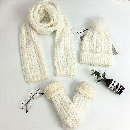 Femmes Mohair tricot crochet 3 Pièces Beanie Chapeau Echarpe Gants Femmes  Ensembles Hiver Cadeau (Chapeau d1330c5ce2b