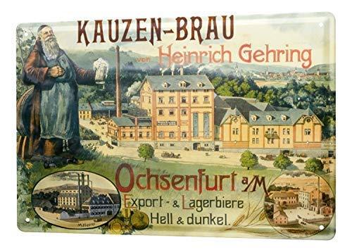 qidushop Kauzen Brûwery Factory Henry Gehring Ochsenfurt Exportieren Hell Dark Beer Werbung Mönch Metall Schild Wanddeko Dekoration Retro Werbung Vintage Deko Metallschilder