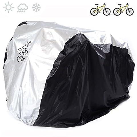 couvertures de vélo en nylon 190T Heavy Duty étanche Portable léger pour l'extérieur d'intérieur de stockage 2Vélos Fucnen Vélo Coque anti poussière pluie Protection UV pour VTT Vélo de