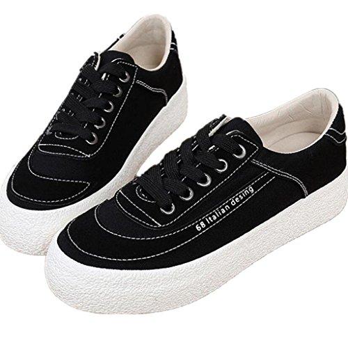 SHFANG Lady Shoes Retro scarpe di tela di spessore inferiore spazzola studenti letterari confortevole movimento di svago tre colori Black