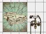 creatisto Fliesenspiegel Dekorationssticker | Fliesen-Sticker Aufkleber Folie selbstklebend Bad renovieren Küche Bad Ideen | 20x25 cm Design Motiv Retro Cars 1-9 Stück