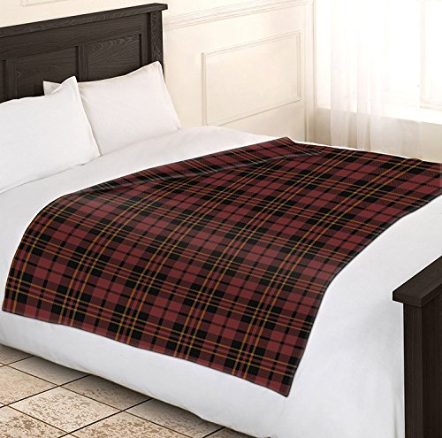 Double Tartan Check Sofa Throw Bed Fleece Travel Blanket (BROWN/WINE) by Adore Home ()