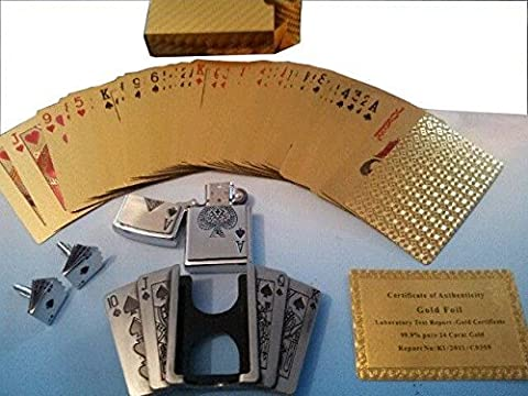 LUXURY 3 PIECE CASINO SET 24K GOLD PLATED PLAYING CARDS