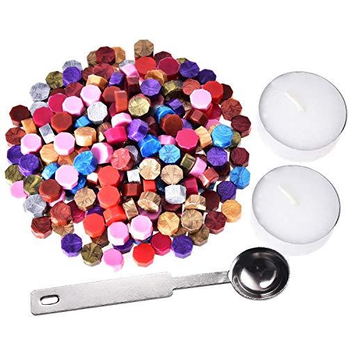 Siegelwachs Perlen,Siegellack 250 Stück Wachs Siegel mit 1 Stück Wachsschmelzlöffel und 2 Stück Teekerzen für Stempelversiegelung Geschenkverpackung Private Envelop
