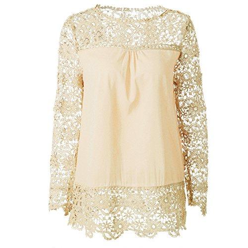 Für Frauen Rohr-shirts (Mayihang Moskitonetz Spitze Schnee gesponnene Shirt Frauen Schulter Langarm Langarm spitzen Schnee gesponnen, Milch, Xxxl)