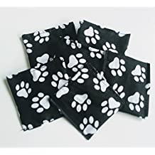 Set of 3 cuddly pillows black with white paws cat toy valerian catnip