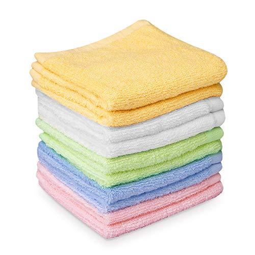 HBselect 10er Baby Waschlappen weiche Handtücher Waschtücher 5 Farben mit je 2 stk aus hochwertigen Bambusfaser mit Hänge Seil für empfindliche Haut 25x25cm