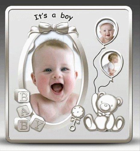 Foto Rahmen–seine ein Junge Satin Silber Baby Bilderrahmen