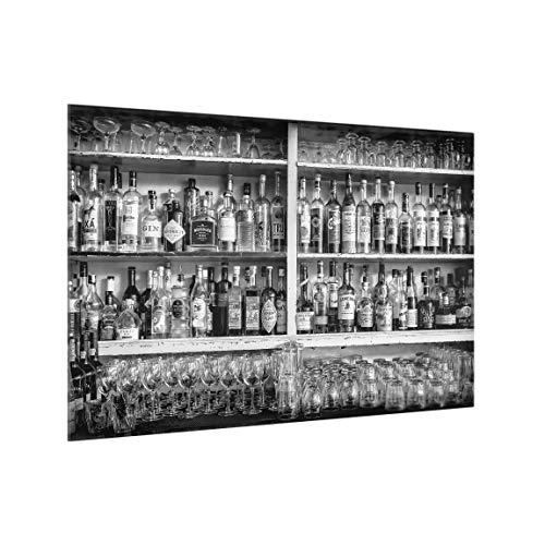 Bilderwelten Spritzschutz Glas - Bar Schwarz Weiß - Querformat 2:3, HxB: 40cm x 60cm -