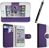 FOR APPLE IPHONE 4 4S VARIOUS PU LEATHER MAGNETIC FLIP CASE COVER POUCH + FREE STYLUS (Purple & White Book Flip)