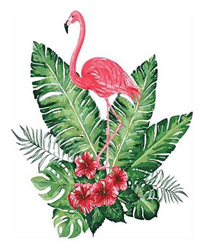 GDLATFD Malen nach Zahlen- Grüne Blätter und Flamingos -Erwachsene Kinder,DIY Handgemalt Ölgemälde auf Leinwand Geschenk Malen Nach Zahlen Kits Kunst Handwerk Home Haus Dekor - Ohne Rahmen 40 * 50 cm