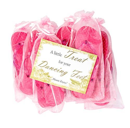 MODO Hochzeit/Party Glitter Flip Flops 10er Pack In Organza Taschen 38-39 EU x 10 Rosa