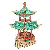 Hfudgj Modelli architettonici in Legno 3D Riproduzione di Puzzle Regalo Assemblaggio Manuale Gioco Kit di Costruzione del Legno Cina Antico Tetto a Doppio Tetto Padiglione Esagonale (246 Pezzi)
