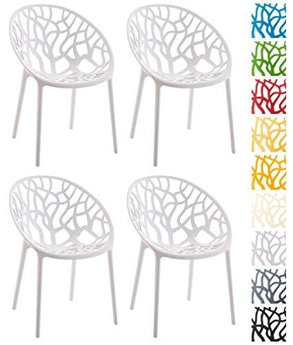 CLP 4er-Set Design-Gartenstuhl Hope aus Kunststoff I Wetterbeständiger Stapelstuhl mit Einer maximalen Belastbarkeit von 150 kg I in Verschiedenen Farben erhältlich Weiß