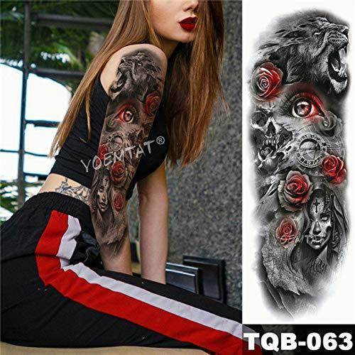 Big Arm Sleeve Tattoo Totem Wasserdichte Tattoo Samurai Samurai Angels All Black
