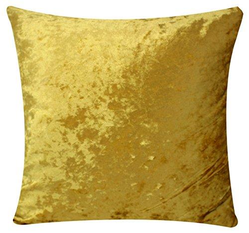 Solide Farben Zwei seitige Samt Ebene Farben Üppige Samt 18 X 18 Kissenbezüge für Sofa Bett Couch (mattes Gold) -