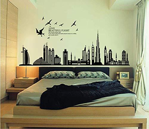Ufengke® città nera silhouette paesaggio urbano grattacielo adesivi murali, camera da letto soggiorno adesivi da parete removibili/stickers murali/decorazione murale