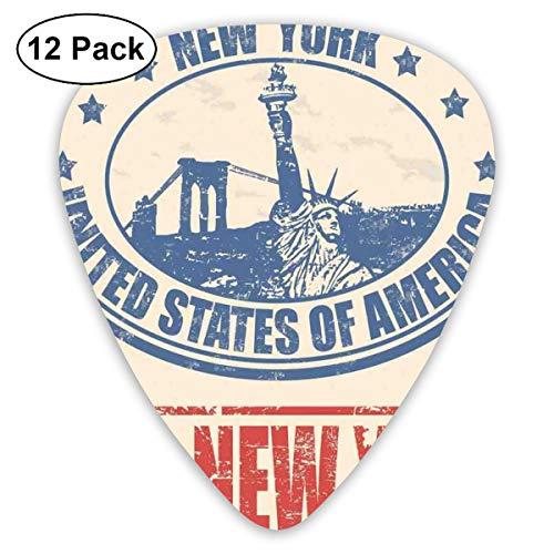 Guitar Picks 12-Pack,Vintage I Love New York With Statue Of Liberty Grunge Rubber Stamps Design Vintage Hard Rubber