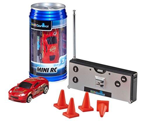 Revell Control 23534 - Mini RC Car in Dosenverpackung, Verpackung ähnelt einer Cola-Dose, kleines ferngesteuertes RC Auto, 27 MHz-Fernsteuerung mit Ladefunktion, Pylonen - Sportwagen in rot