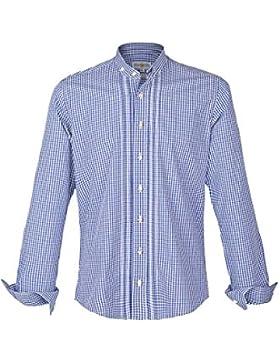 Herren Almsach Stehbundhemd Slim-Fit Vichy blau 'Richy', blau,