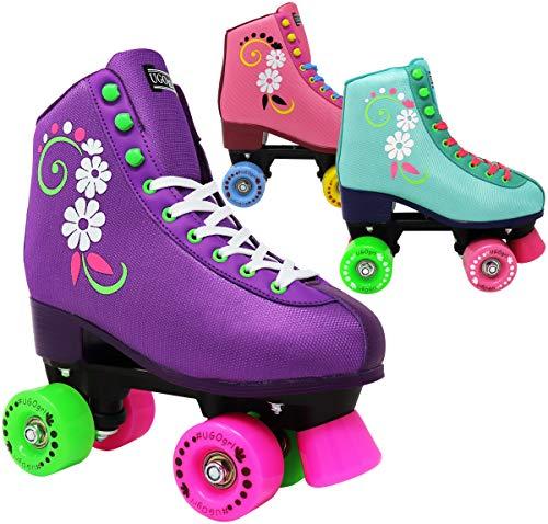 Lenexa Ugogrl Roller Skates für Mädchen - Kinder Quad Roller Skate - Indoor, Outdoor, Derby Kinder Skate - Rollerskates gemacht für Kinder - große Jugend Skate für Anfänger J12 Teal