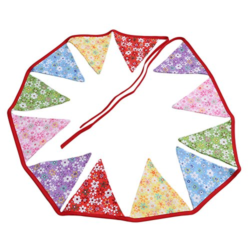 Gluckliy Feet Triangle Wimpel Flaggen Vintage Bunting Floral Cotton Banner Kit Wimpel Girlande für Hochzeit, Festivals, Kinderzimmer, Outdoor Wimpel hängende Dekoration (Rot) - Indoor-flag-kit