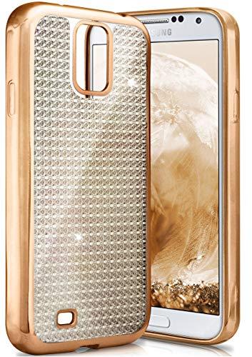ONEFLOW Samsung Galaxy S4 | Hülle Glitzer Gold Silikon Shiny Back-Cover Silikonhülle Glitter Schutzhülle Ultra-Slim Case für Samsung Galaxy S4 / S IV Handy-Hülle Dünn Tasche (Cases Bling 4s Galaxy Phone)