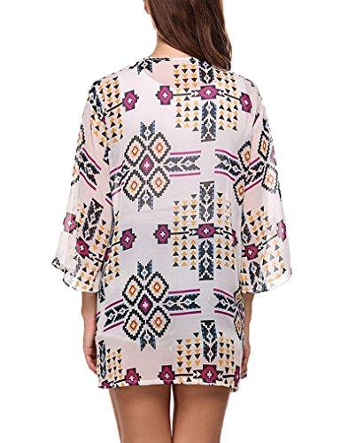 OURS Damen Sommer Blumen Kimono Cardigan Chiffon Cover up Strickjacke Strand 3/4 Ärmel Lila