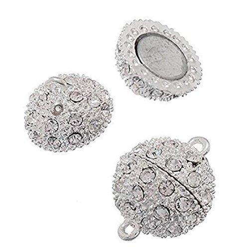 sungpunet versilbert 5PCS Kristall Shamballa Stil Pavé Kugel Strass Bling Magnet Perlen Schließe für armband Halskette Schmuck, 10mm