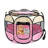 Leicht Atmungsaktive PET Playpen Travel Portable PET Transport Tragetasche Käfig Für Hunde Katzen Und Kaninchen,Pink,M(90 * 90 * 60Cm)
