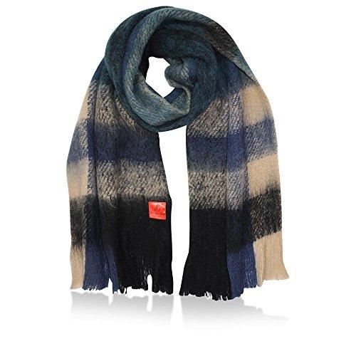 ERFURT Damen Schal Checked Fluffy, Navy Blue, (LxB) 200 x 46 cm (Wolle-perlen Gefilzte)