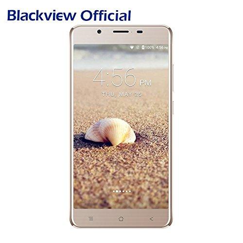 """Smartphone avec Grande Batterie-Blackview P2 Lite 4G Smartphones de 6000mAh Batterie 5.5"""" FHD 1080*1920 Ecran Android 7.0 OS Telephone Portable Debloqué 8MP+13MP de Caméra 3GO+32GO de Mémoire Dual SIM Dual Standby-Gold"""