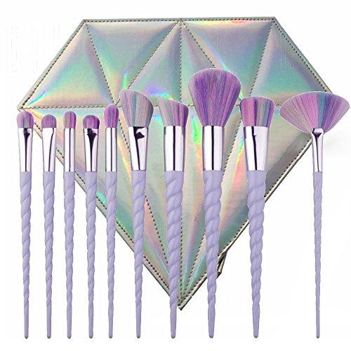 BYBO 10Pcs Spiral Einhorn Griff Synthetic Form Regenbogen -Make-up-Pinsel-Set Profi-Stiftung Lidschatten Rougepinsel -Set, mit Diamant-Tasche