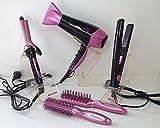 Haarpflege-Set (Haartrockner, Glätteisen, Lockenwickler, 2 Bürsten) Rosa / Schwarz
