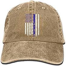 Unisex Ajustable Yarn-Dyed Gorras de béisbol del Dril de algodón Línea Delgada Bandera Azul