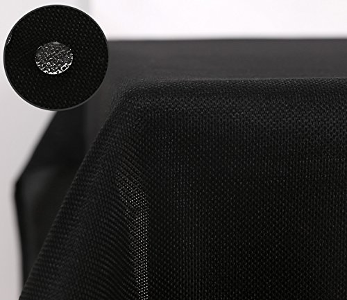 Deconovo Faux Linen Pattern Rectangle Table Cover Cloth for Kitchen Dinning Waterproof 137x274CM Black