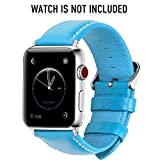 Fullmosa 5 Farben für Apple Watch Armband, Bosin Bambus Textur Hauptschicht Rindsleder Lederarmband...